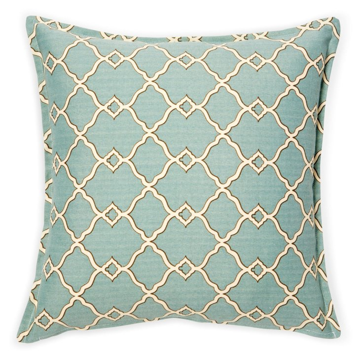 Kensington 16x16 Pillow, Aqua/Cream