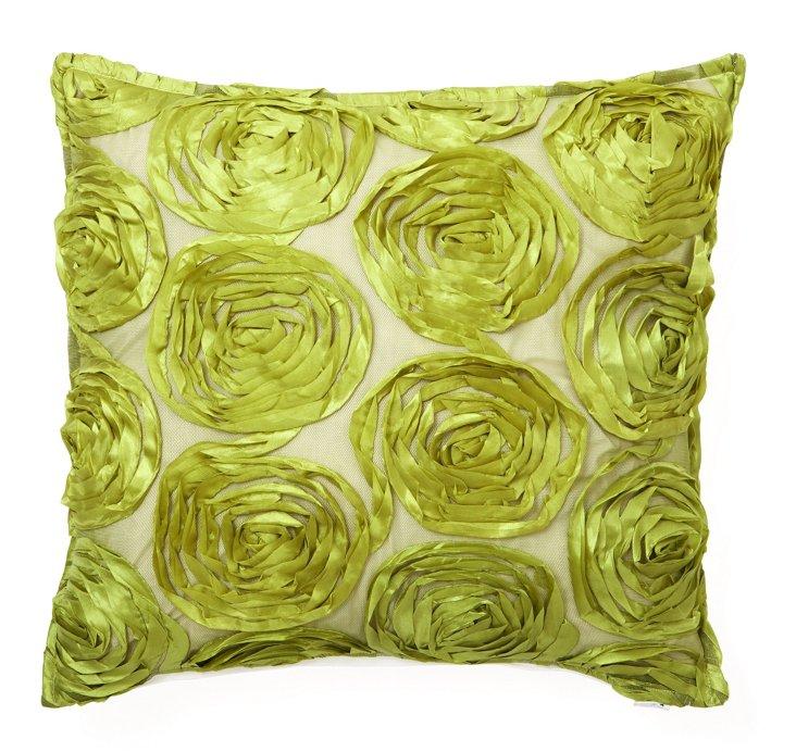 Rosette 16x16 Pillow, Apple Green