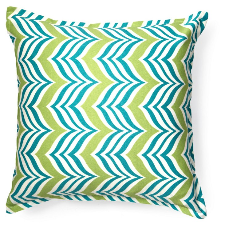 Zigzag 16x16 Outdoor Pillow, Teal/Lime