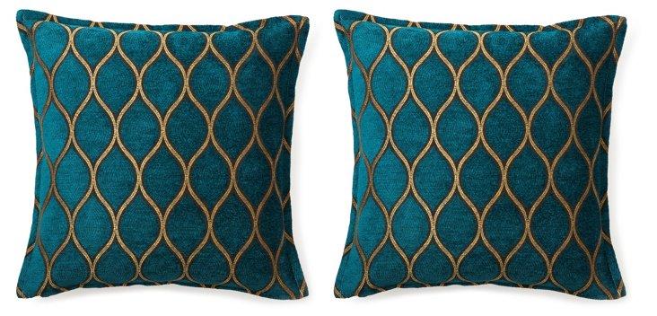 S/2 Opulence 16x16 Cotton Pillows, Teal