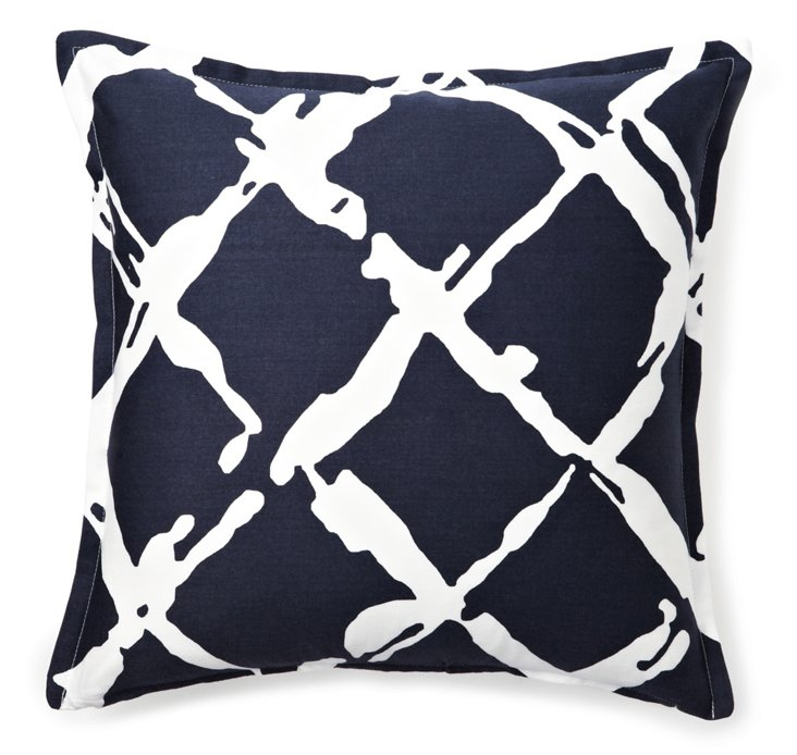 Fenced 16x16 Pillow, Navy Blue