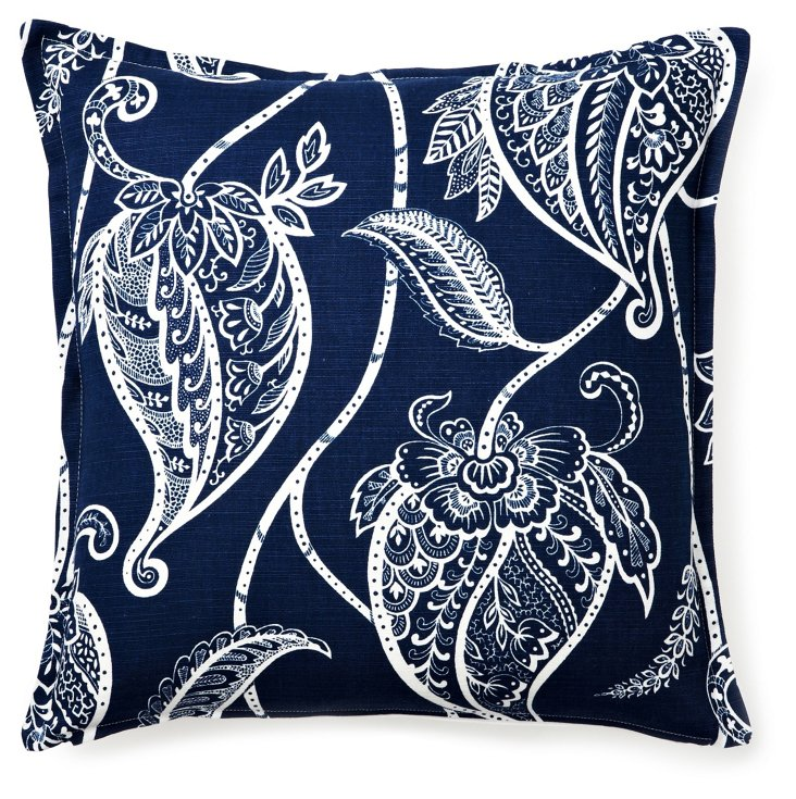 Paisley 16x16 Pillow, Blue