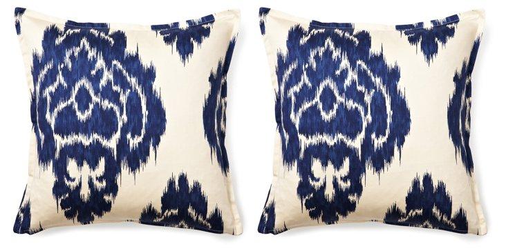 S/2 Ikat Damask 16x16 Pillows, Blue