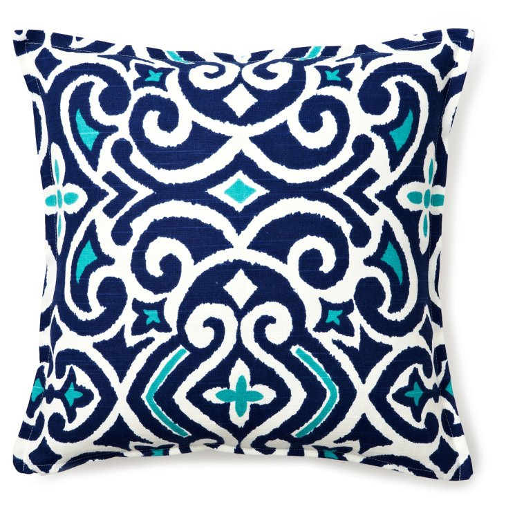 Traditional 16x16 Cotton Pillow, Blue
