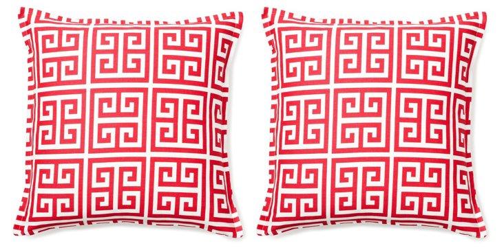 S/2 Meander 16x16 Pillows, Raspberry