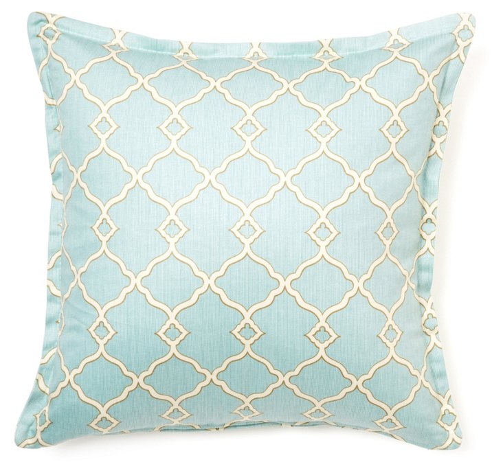 Lattice 16x16 Cotton Pillow, Seafoam