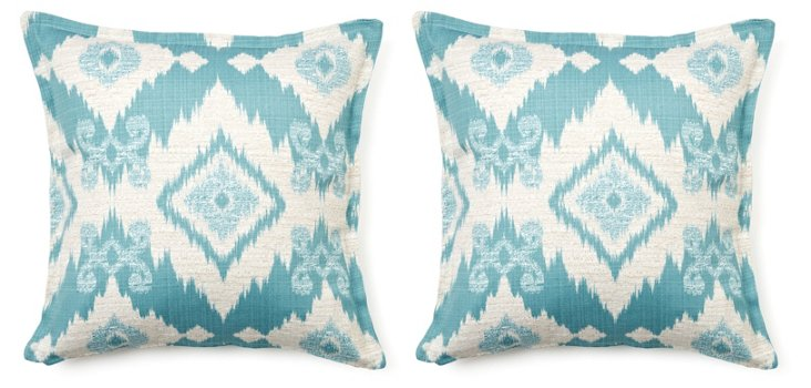 Geo 16x16 Cotton Pillow, Light Blue