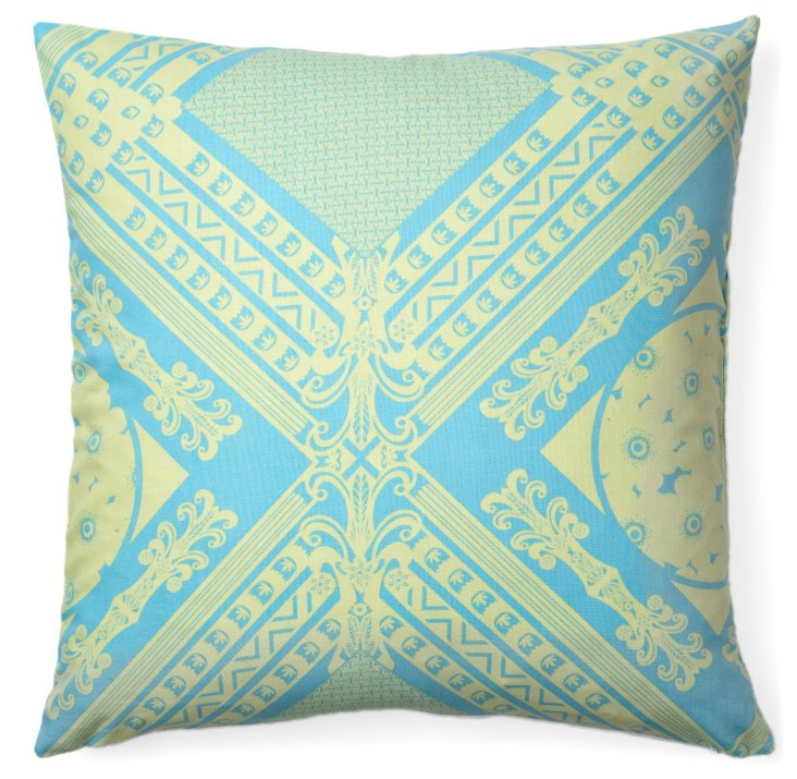 Key 16x16 Cotton Pillow, Teal