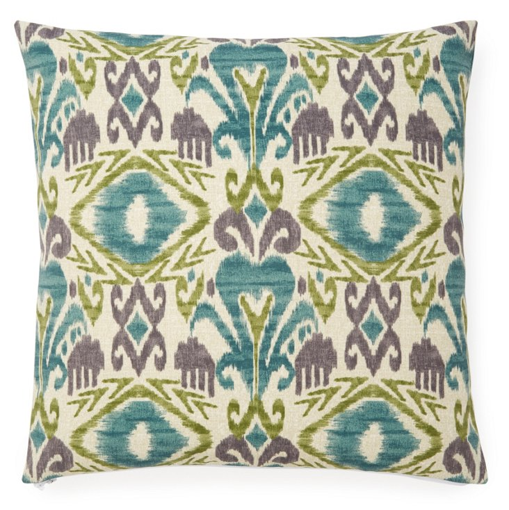 Blooming 20x20 Outdoor Pillow, Blue