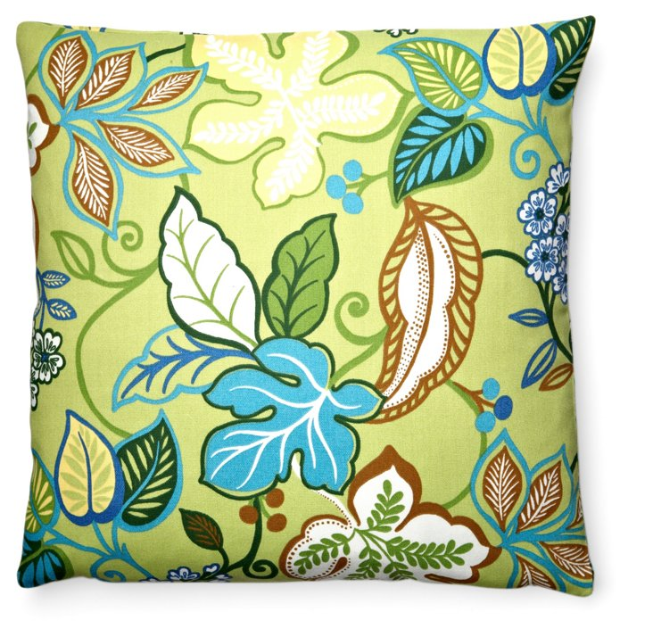 Leafy 20x20 Outdoor Pillow, Green