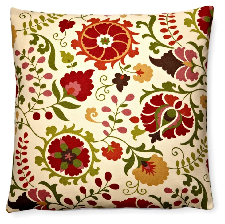 Pansies 20x20 Outdoor Pillow, Red/Multi