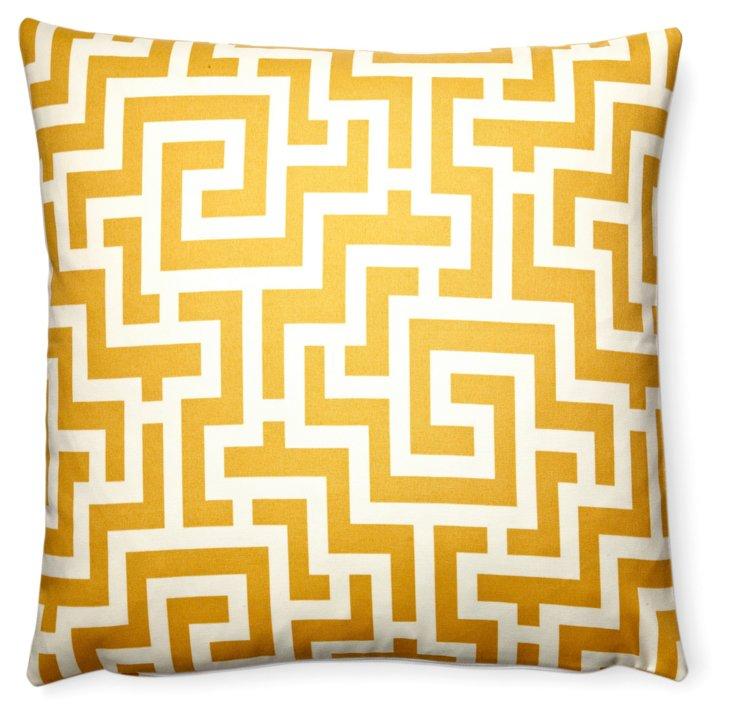 Maze 20x20 Outdoor Pillow, Yellow