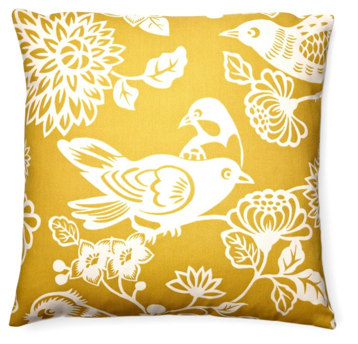 Tweet 20x20 Outdoor Pillow, Yellow