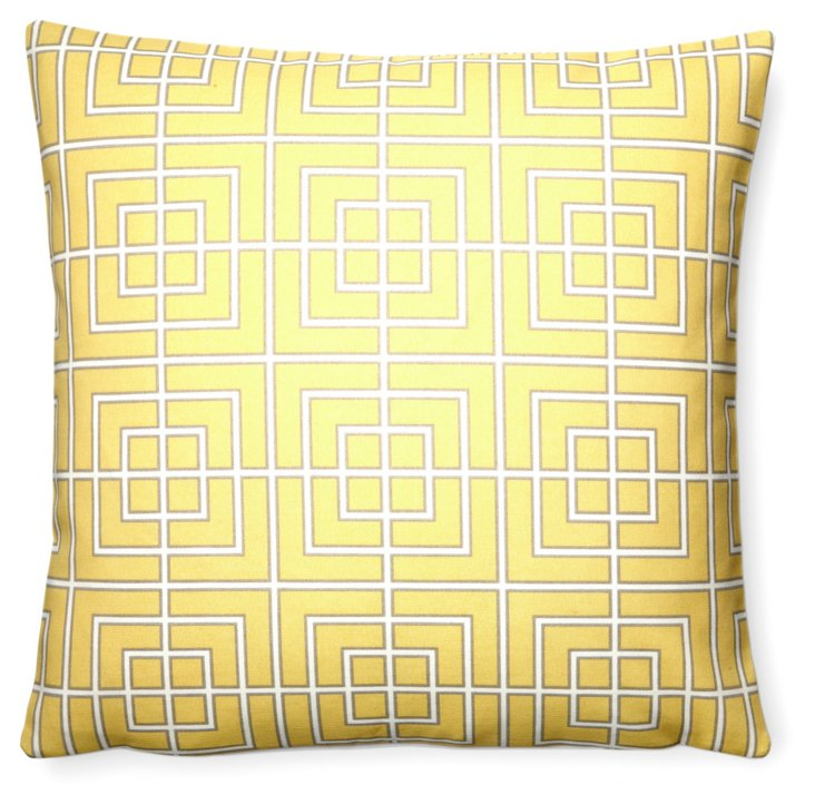 Grid 20x20 Outdoor Pillow, Yellow