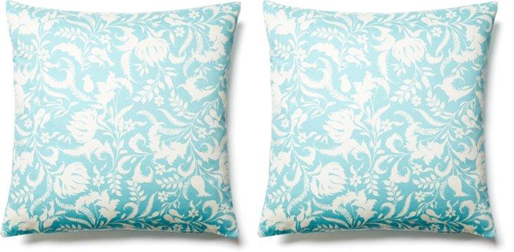 S/2 Leaf 20x20 Cotton Pillows, Aqua