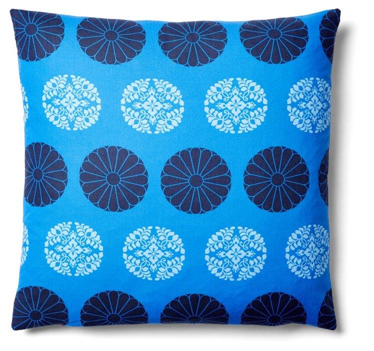 Medallion 20x20 Cotton Pillow, Blue