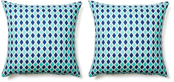 S/2 Diamond 20x20 Cotton Pillows, Blue