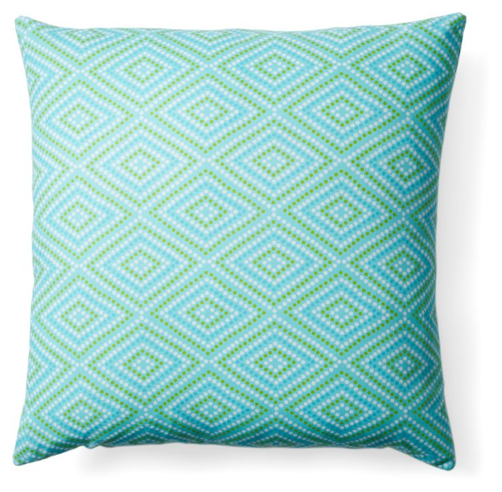 Diamond 20x20 Cotton Pillow, Teal