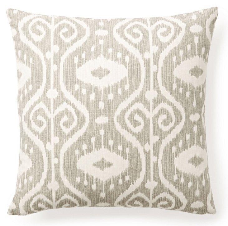 Classic Ikat 16x16 Cotton Pillow, Gray