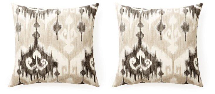 S/2 Bess 20x20 Cotton Pillows, Natural