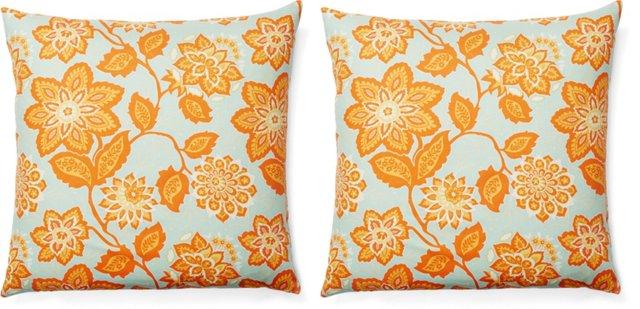 S/2 Floral 20x20 Cotton Pillows, Teal