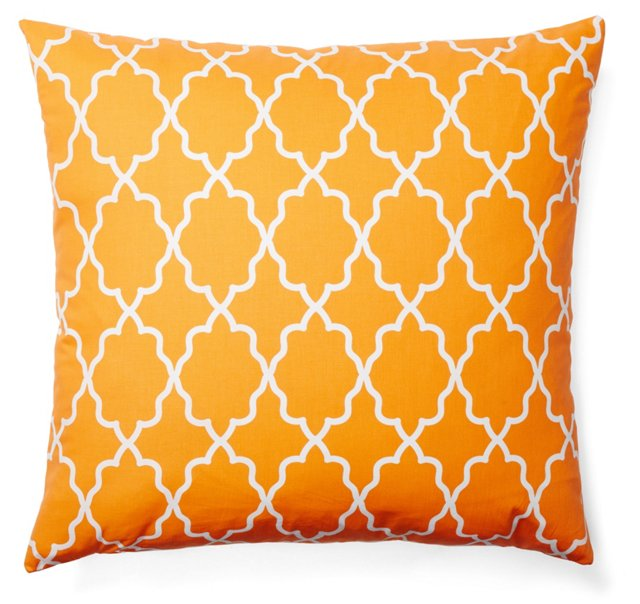 Lattice 20x20 Cotton Pillow, Orange