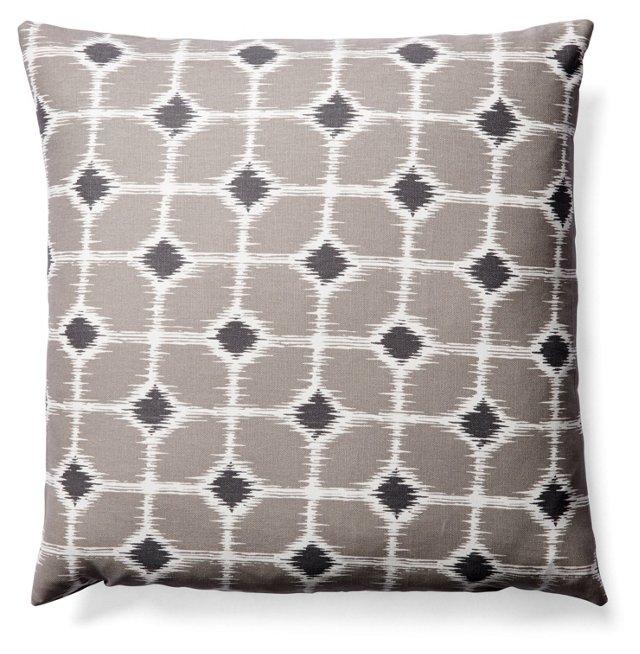 Batik 20x20 Cotton Pillow, Gray