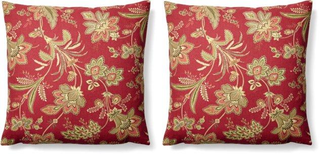 S/2 Fresh 20x20 Cotton Pillows, Red