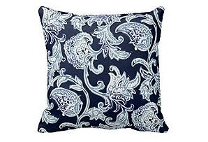 Floral 20x20 Outdoor Pillow, Navy*
