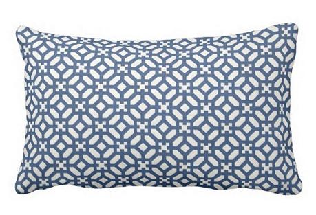 Trellis 12x18 Outdoor Pillow, Blue