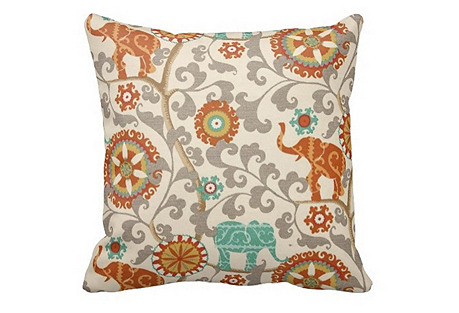 Elephant 20x20 Outdoor Pillow, Cream