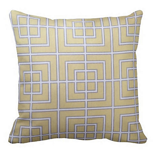Geometric 20x20 Outdoor Pillow, Yellow