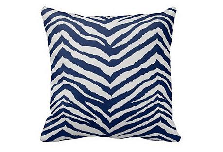 Zebra 20x20 Outdoor Pillow, Navy