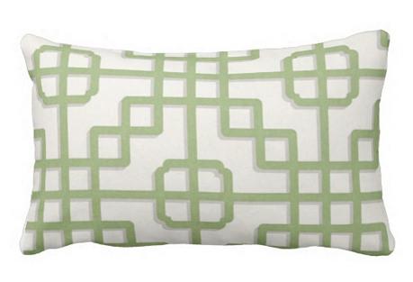 Trellis 12x18 Outdoor Pillow, Green