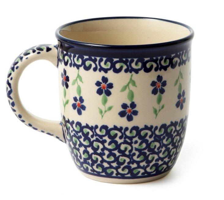 12 Oz Coffee Mug, Blue Scroll