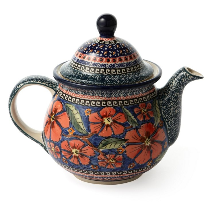 Extra Large Teapot, Greek Floral