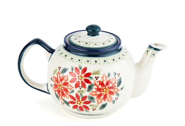 Teapot, Red Flowers