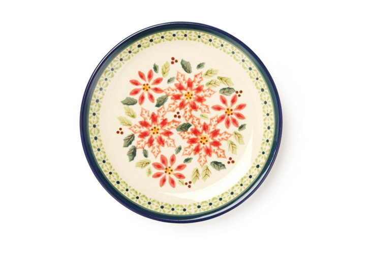 Salad Plate, Red Flowers