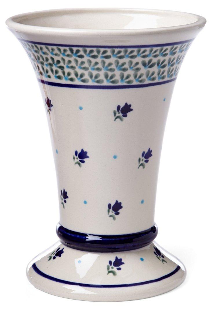 Tall Vase, Aqua Bloom