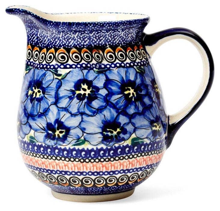 Pitcher, Blue Flowers