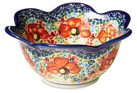 Medium Stoneware Tulip Bowl, Blue/Multi