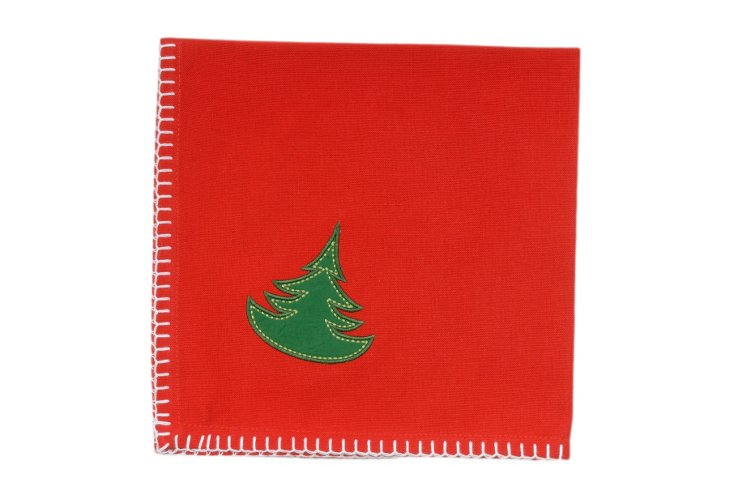 S/4 Christmas Tree Napkins, Red