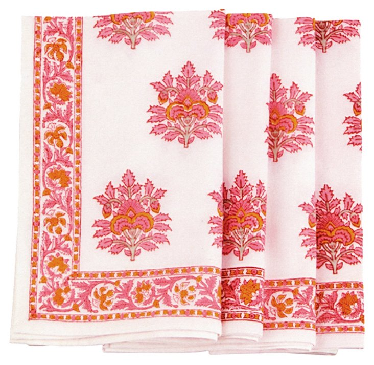 S/4 Block-Printed Napkins, Pink