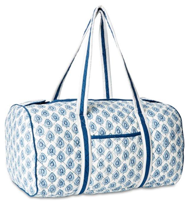 Petra Duffel Bag, Navy/White