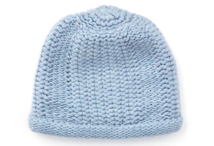 Honeycomb-Stitch Hat, Celeste