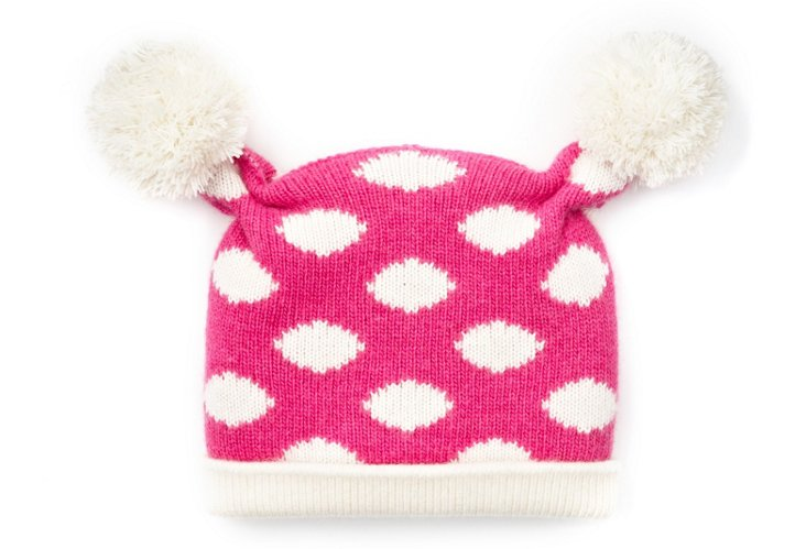 Baby Poof Hat, Pink/White