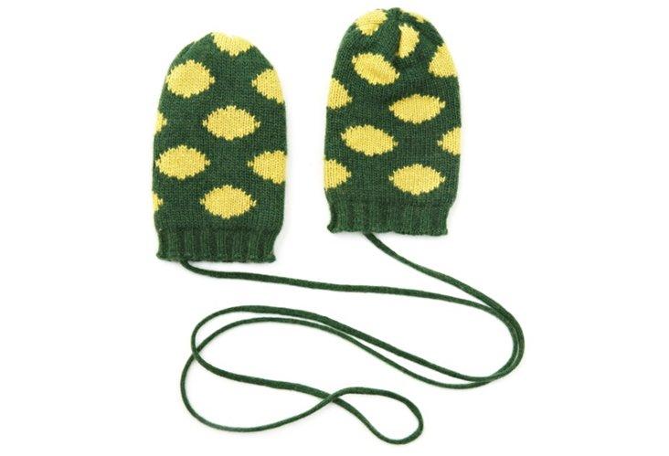 Polka Dot Mittens, Green/Yellow