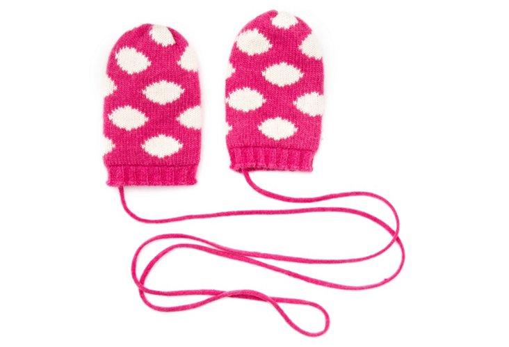 Polka Dot Mittens, Pink/White