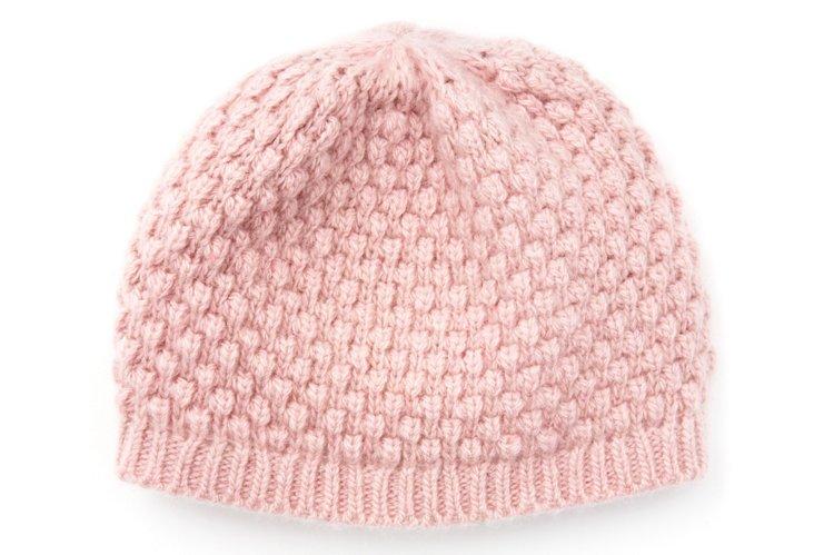 Baby Cashmere Skull Hat, Powder Pink