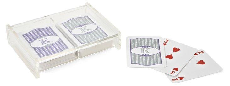 S/2 Playing Card Decks, Silver & Purple